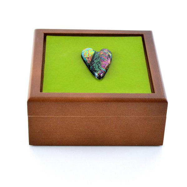 Solid Wood Keepsake Box with Fused Dichroic Glass Heart Inset
