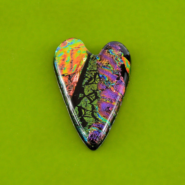 Fused Dichroic Glass Heart | The Glass Rainbow