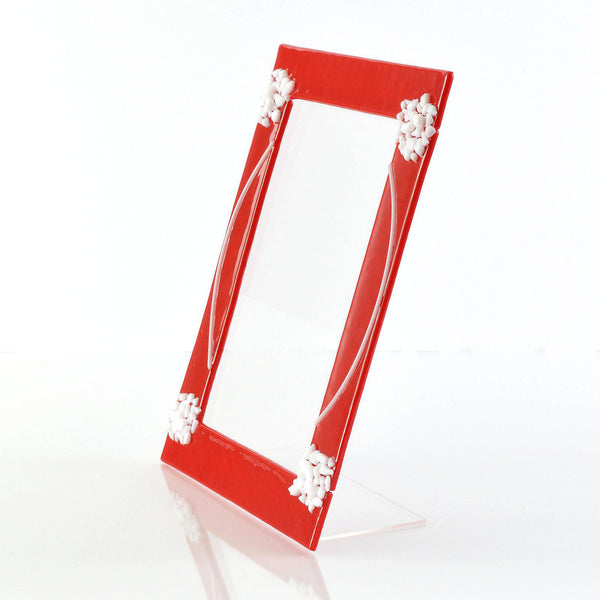 Frames - Fused Glass Red and White 5 x 7 Picture / Photo Frame
