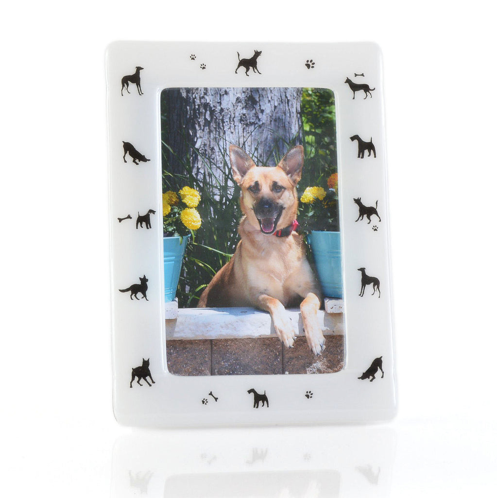 Frames - Dog Lovers Fused Glass White 5 x 7 Picture / Photo Frame