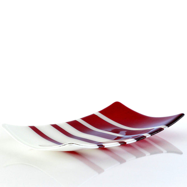 Fused Glass Fibonacci Pattern Large Sushi Plate in Red and White