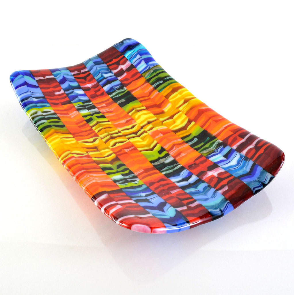 Fused Glass Rainbow Flow Bar Sushi Plate | The Glass Rainbow