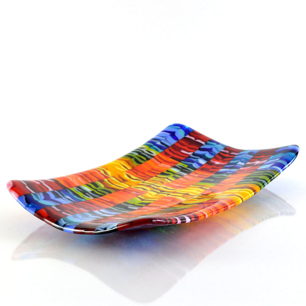 Fused Glass Art Flow Bar Rainbow Sushi Plate