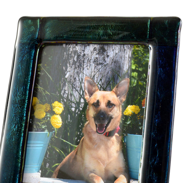 Close-up of Luminescent Fused Glass 5 x 7 Picture / Photo Frame