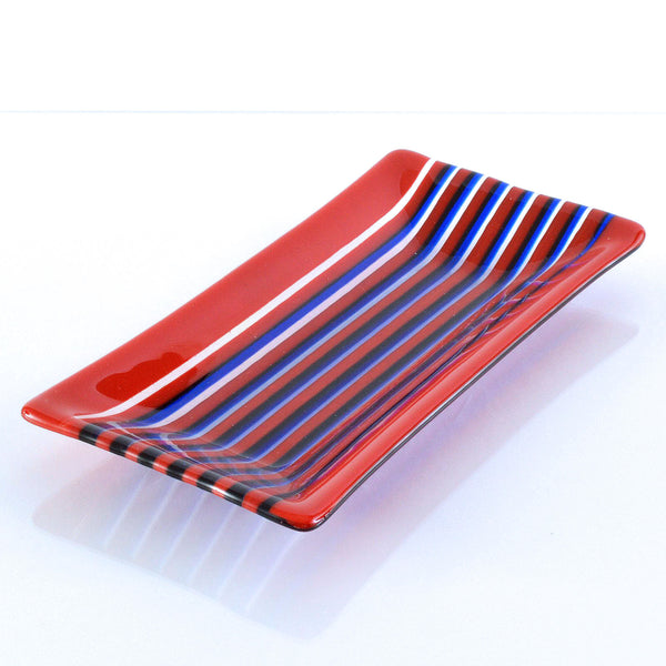 Fused Glass Striped Red & Blue Dish On Edge Technique | The Glass Rainbow