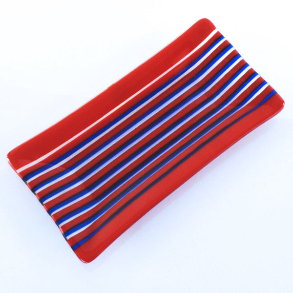 Fused Glass Striped Red & Blue Dish On Edge Technique