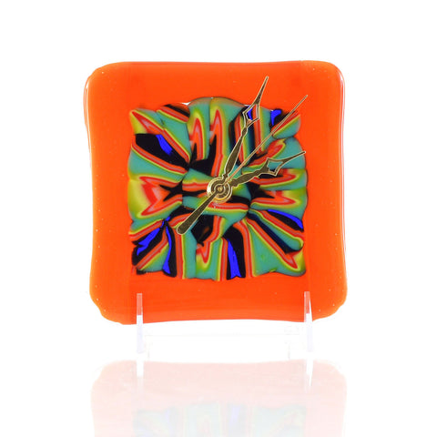 Fused Glass Battery Operated Wall or Desk Clock Abstract