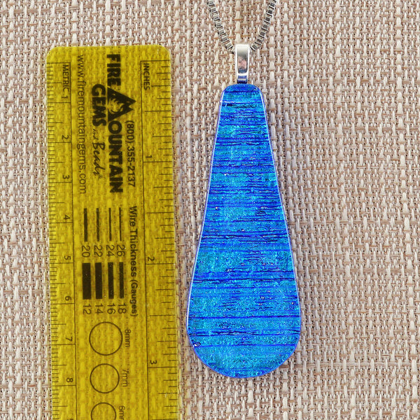 Jewelry Large Dichroic Fused Glass Matching Necklace Pendant & Earring Set in Blue