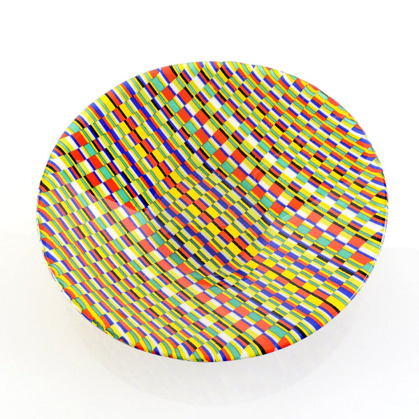 Fused Glass Bargello Tapestry Print Decorative Serving Bowl | Unique Gifts