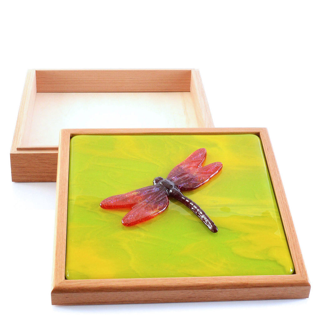 Large Keepsake Box with Red Fused Glass Dragonfly Inset