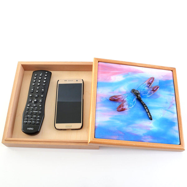 Large TV Remote Box with Fused Glass Dragonfly Inset Panel