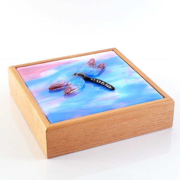 Large Keepsake Trinket Box with Fused Glass Dragonfly Inset Panel