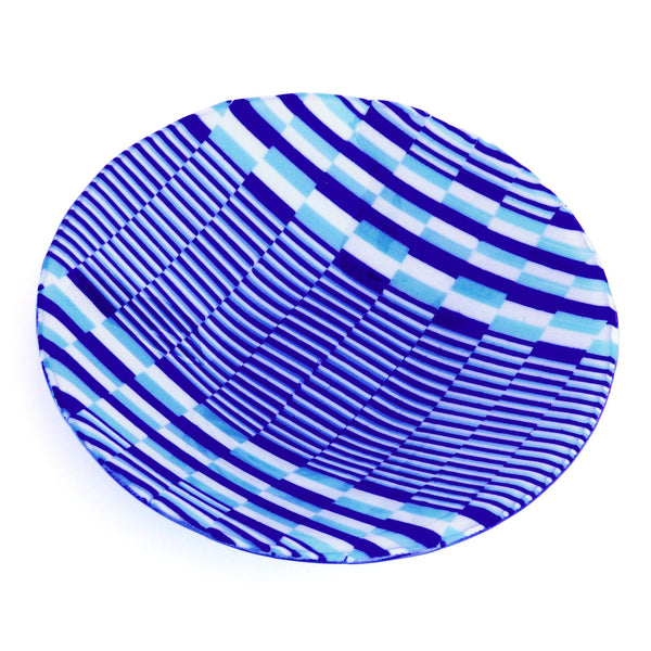 Bargello Glass Tapestry Print Decorative Bowl | Fused Glass Table Art
