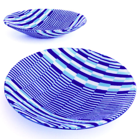 Decorative Fused Glass Bargello Serving Bowl | Custom Glass Art
