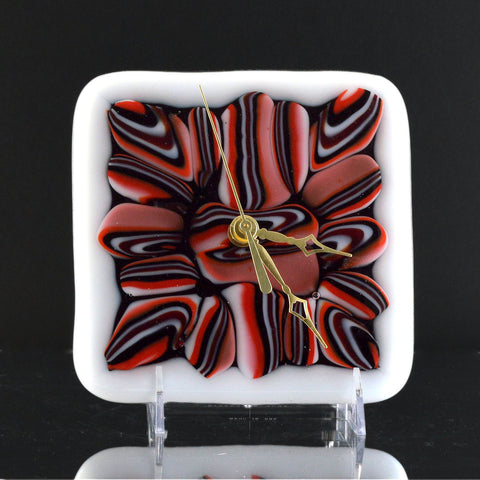Fused Glass Abstract Pattern Battery Operated Wall or Desk Clock | Custom Clocks