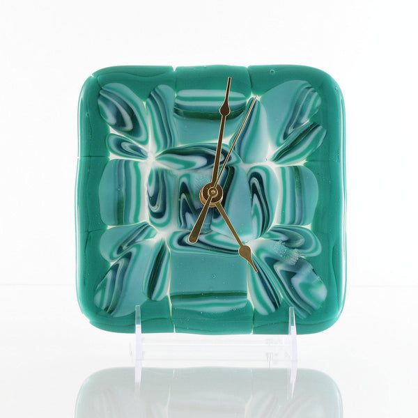 Fused Glass Battery Operated Wall or Desk Clock Abstract Glass Flow | The Glass Rainbow