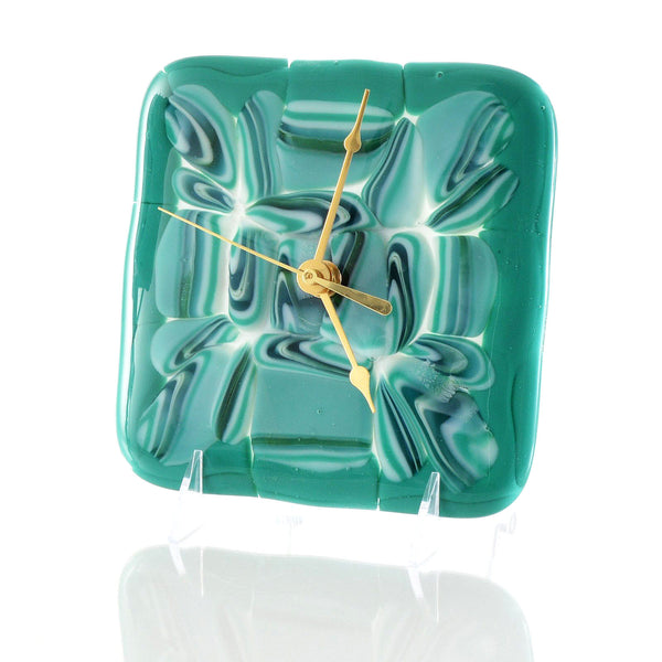 Fused Glass Battery Operated Wall or Desk Clock Abstract Glass Flow
