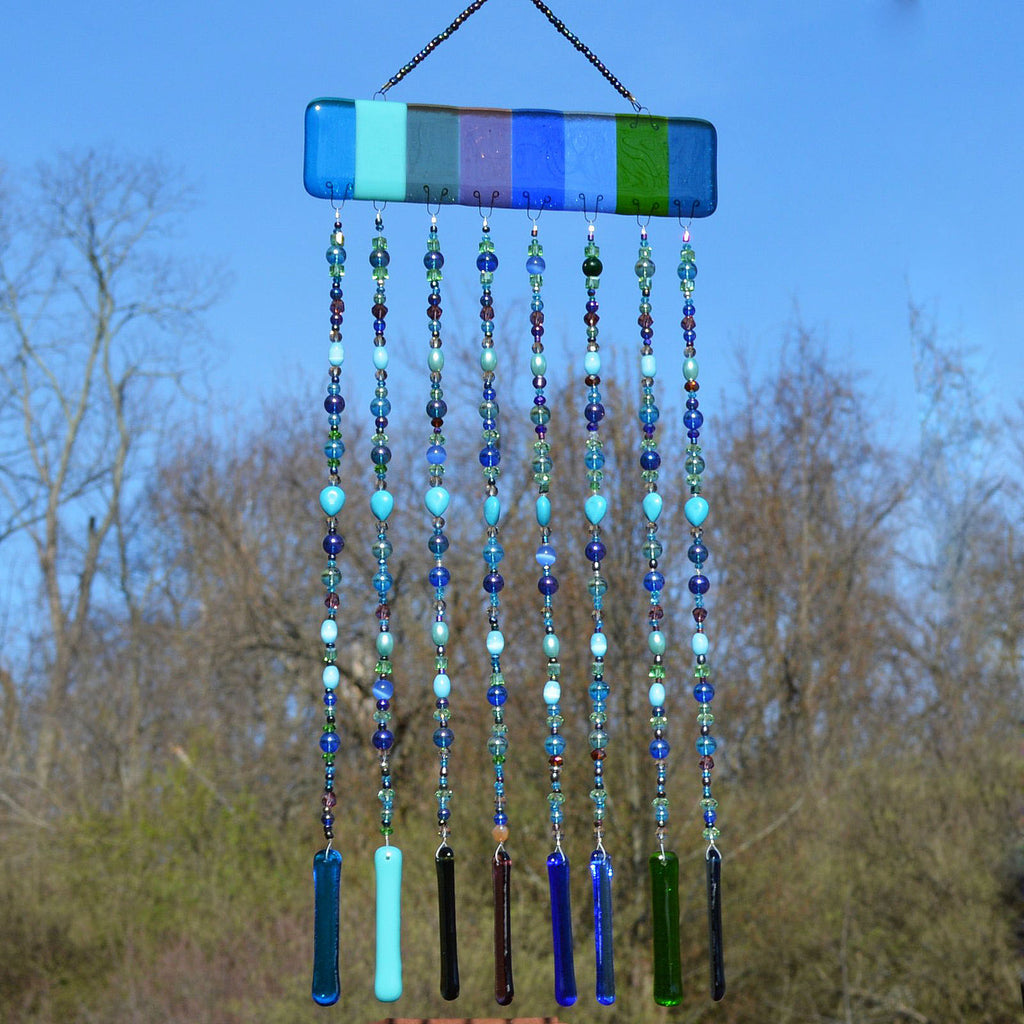 Fused Glass Wind Chime Hand Beaded Curtain and Sun Catcher