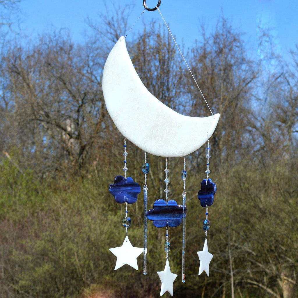 Fused Glass Moon & Stars Mobile Wall Hanging for Baby's Room | The Glass Rainbow