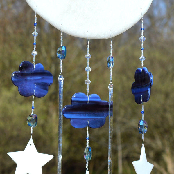 Fused Glass Moon & Stars Mobile Wall Hanging for Baby's Room