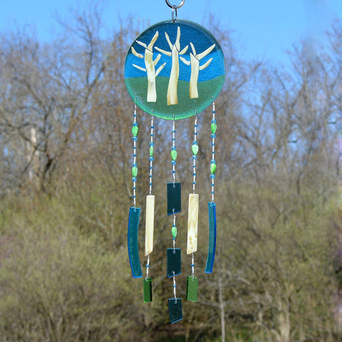 Fused Glass Wind Chimes Trees on a Hill in Blues & Greens
