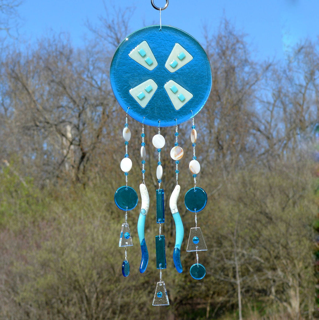Fused Glass Wind Chimes Abstract in Turquoise Blue | The Glass Rainbow