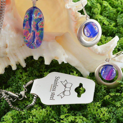 Fused Dichroic Glass Matching Pendant and Earrings Set