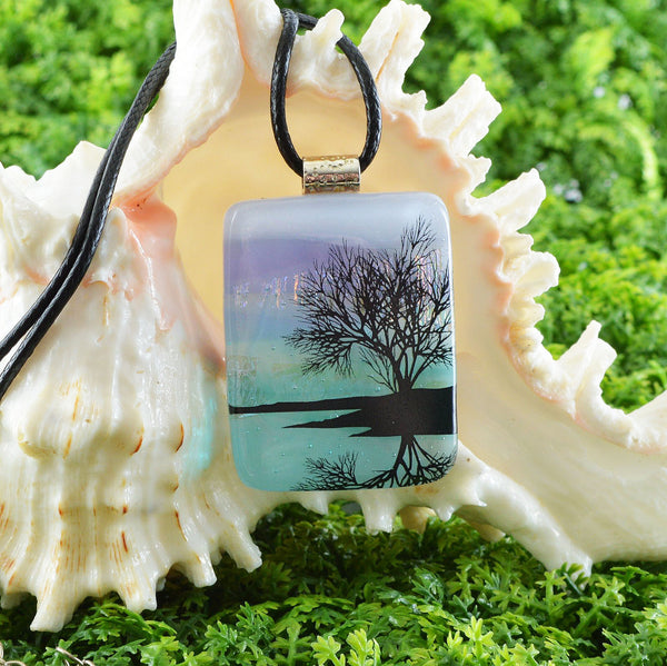 Jewelry Scenic Layered Fused Glass Pendant | Reflecting Tree on Lake