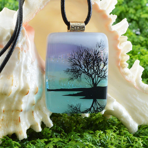 Scenic Layered Fused Glass Pendant | Reflecting Tree on Lake