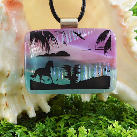 Scenic Layered Fused Glass Pendant | Horse on the Beach