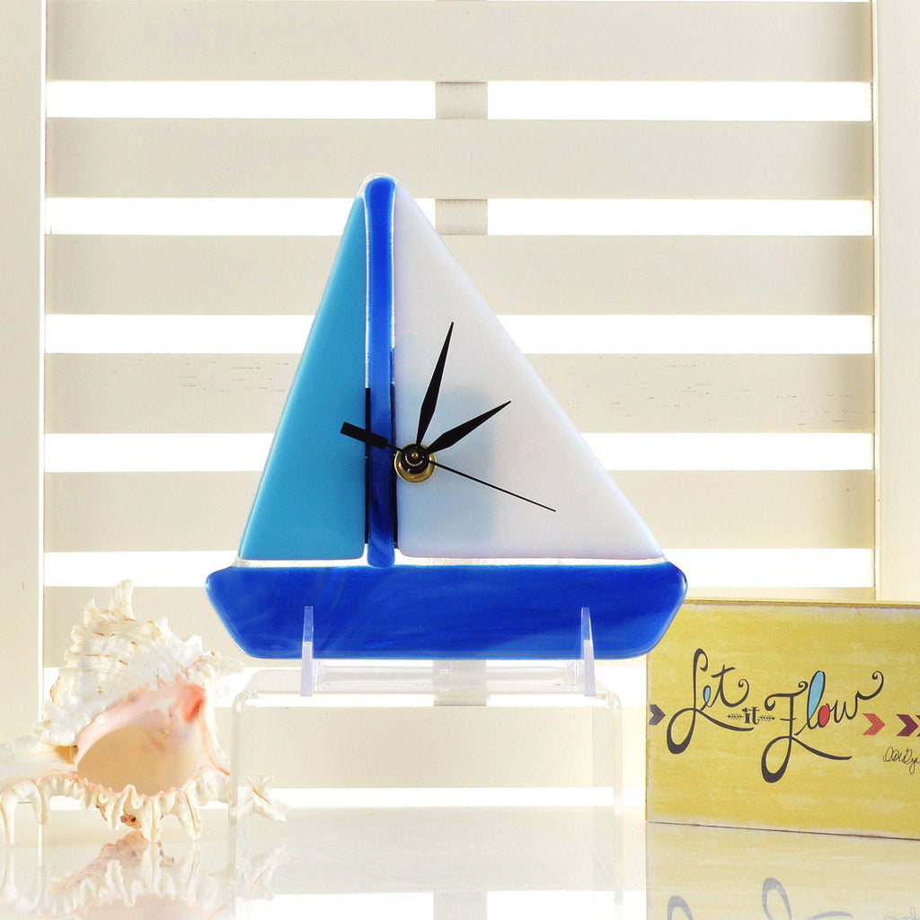 Fused Glass Battery Operated Wall or Desk Clock | Blue Sailboat