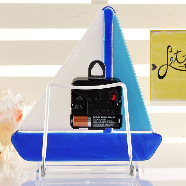 Fused Glass Battery Operated Wall or Desk Clock | back