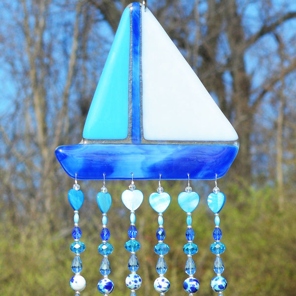 Fused Glass Sailboat Wall Hanging