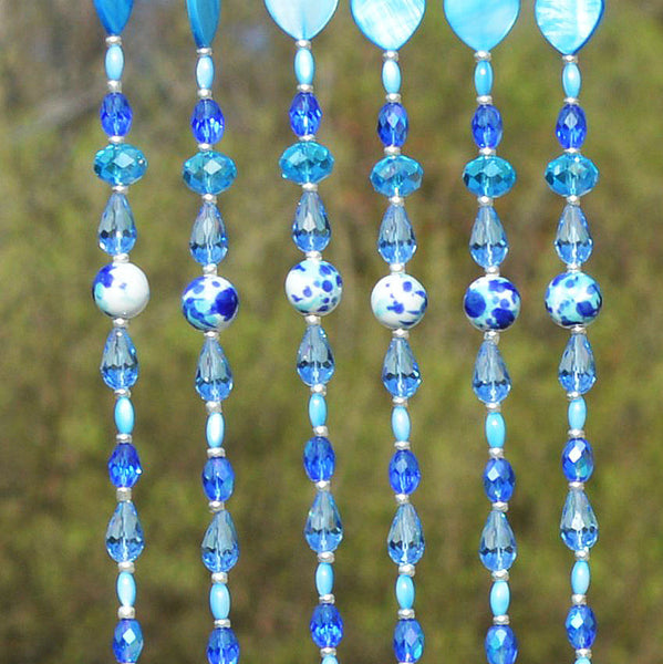 Fused Glass Sailboat Wind Chimes Beaded Curtain Sun Catcher Wall Decor