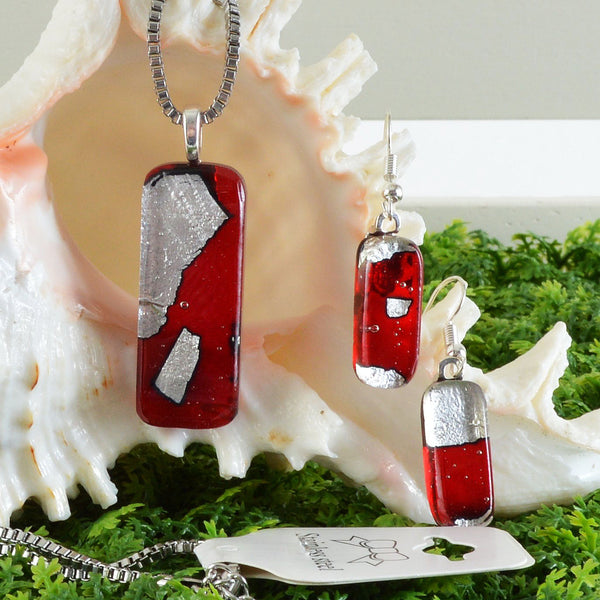 Red Glass w/Silver Leaf Inlay Pendant Snake Chain Earring Set | The Glass Rainbow