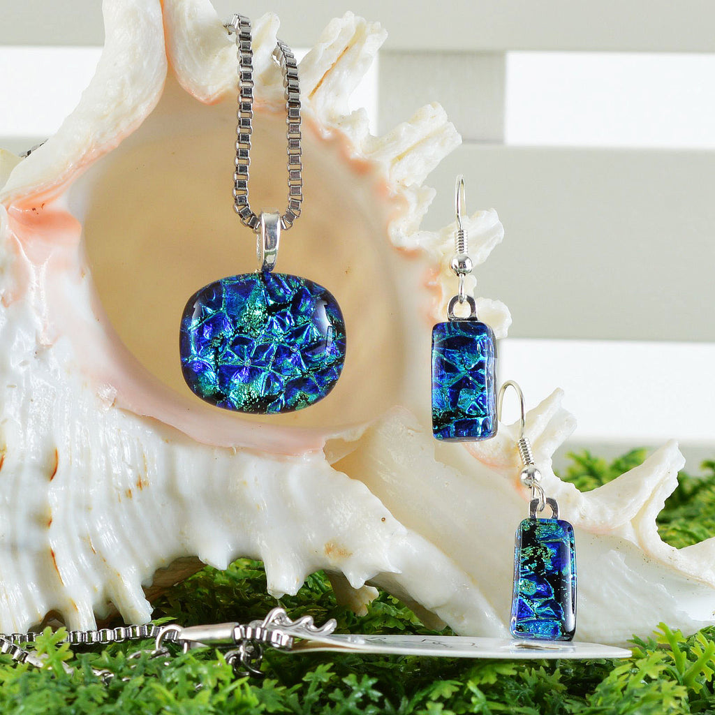 Fused Dichroic Blue Green Glass Petite Pendant & Earring Set