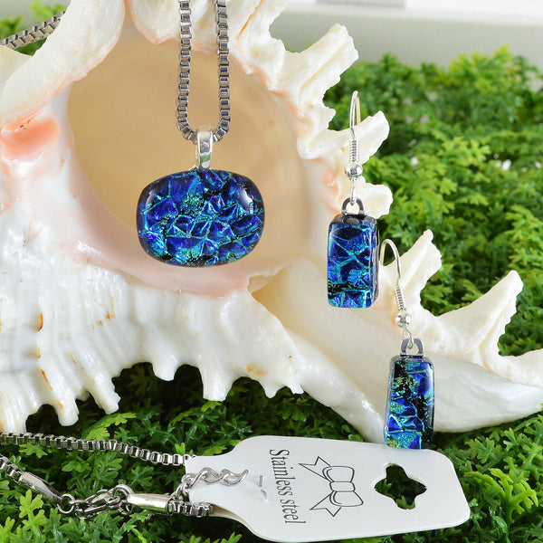 Jewelry Fused Dichroic Blue Green Glass Petite Pendant & Earring Set