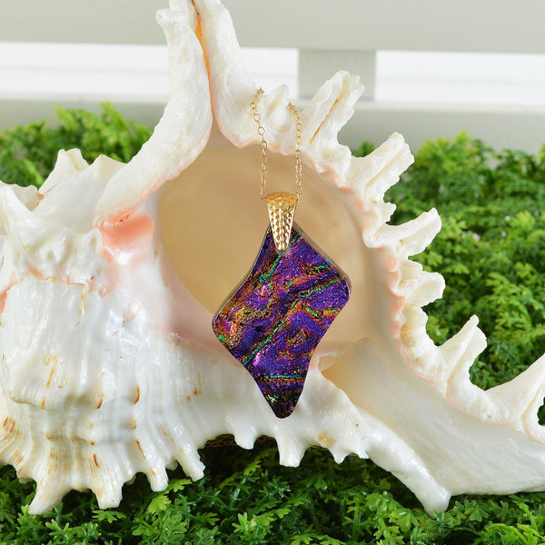 Jewelry Dichroic Fused Glass Purple Pendant w/Gold Filled Necklace