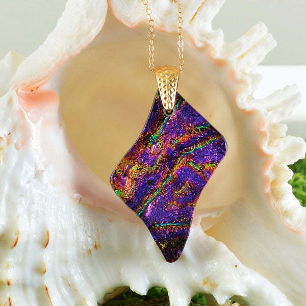 Purple Dichroic Glass Asymmetrical Pendant Necklace | The Glass Rainbow