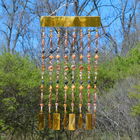 Amber Glass Wind Chimes Hand Beaded Curtain Wall Decor Sun Catcher