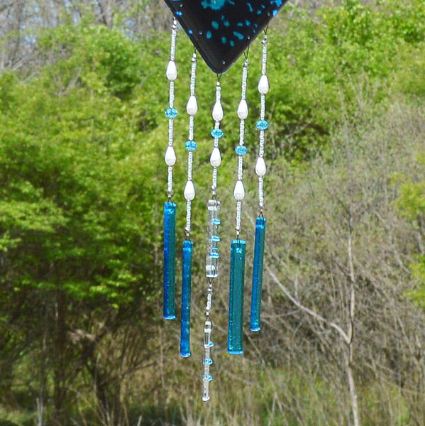 Glass Wind Chimes Starry Nights Full Moon Wall Hanging