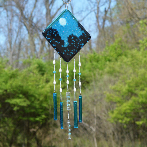 Glass Wind Chimes Starry Nights Full Moon Wall Hanging | The Glass Rainbow