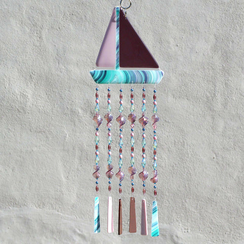 Fused Glass Sailboat Wind Chimes Sun Catcher Wall Decor in Purple | The Glass Rainbow