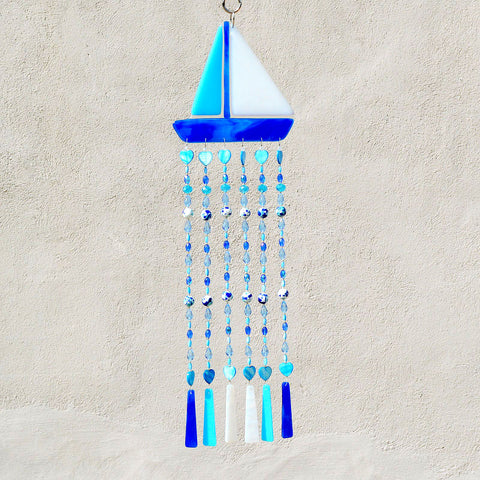 Fused Glass Wind Chimes Sun Catcher Sailboat | The Glass Rainbow