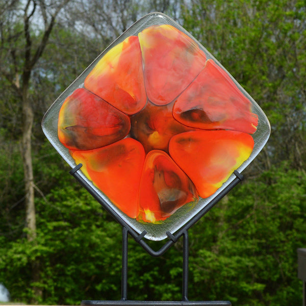 Fused Glass Diamond Square Art Panel | Melted Glass Flow Art Piece
