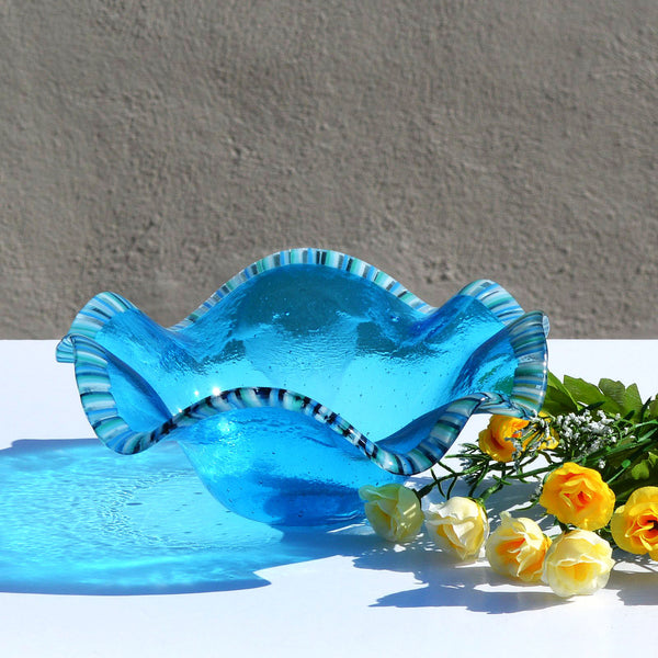 Fused Glass Fruit Bowl | Organic Clamshell Turquoise Blue Serving Bowl