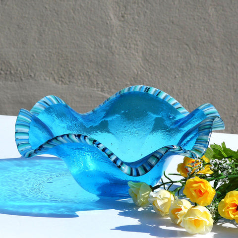 Turquoise Blue Clam Shell Fruit Bowl | Custom Glass Accent Pieces Made in the USA