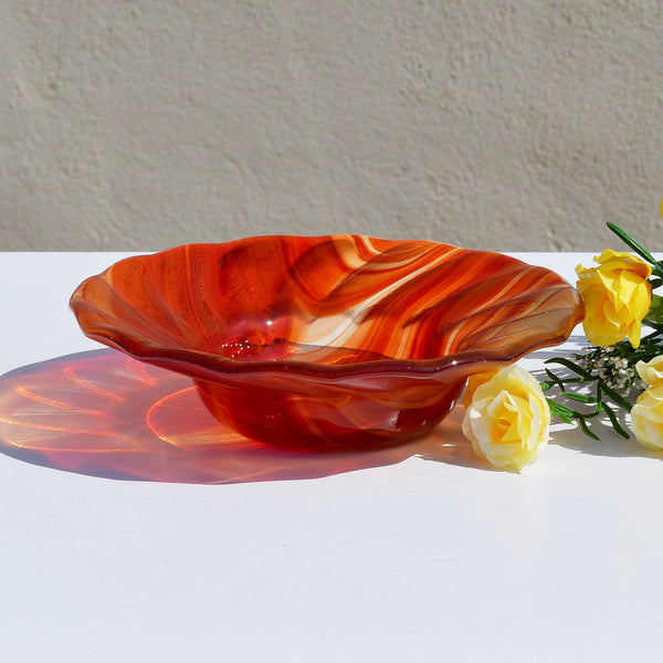Brick Red Fused Glass Candy Bowl | Red Glass Accent Dish