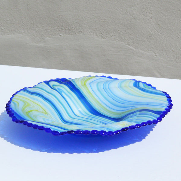 Fused Glass Lg Swirl Fruit Bowl | Limited Edition Glass Accent Piece