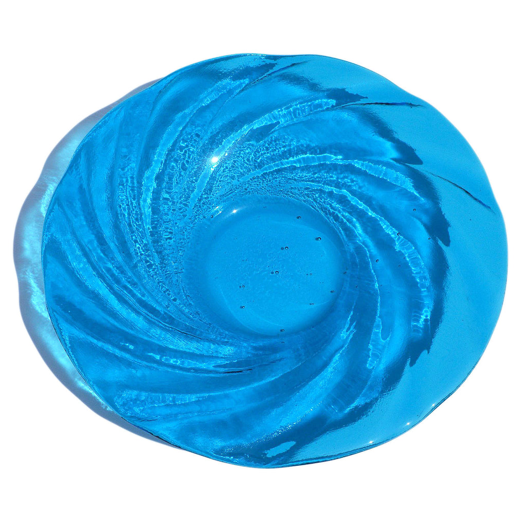 Large Turquoise Blue Glass Bowl | Accent Centerpiece